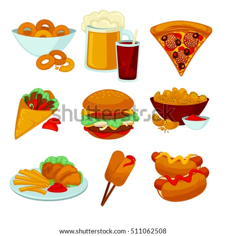 set of fast food meals