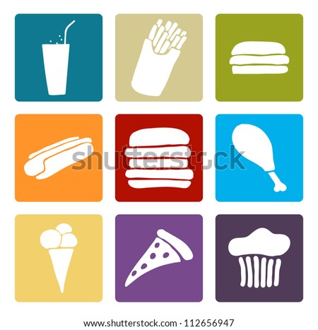 Set of fast food multi colored icons, Vector image.