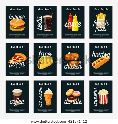 set of fastfood tags