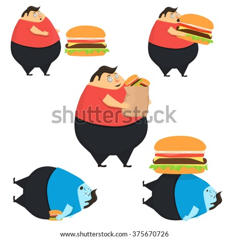 set of fat people eat burger