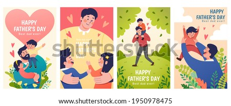 Set of Father's Day illustrations depict dads taking care of their children. Concept of fatherhood, parenting, and childhood in flat design.