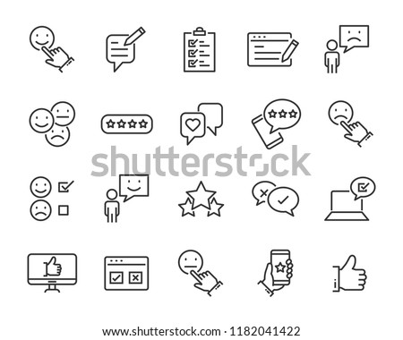 set of feedback line icons, such as, question, review, test, app #1182041422