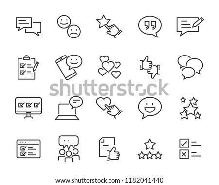 set of feedback line icons, such as, question, review, test, app #1182041440