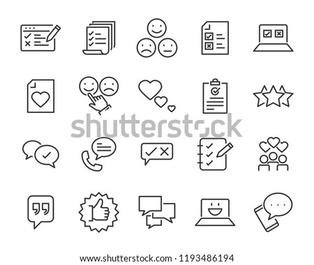 set of feedback line icons, such as, question, review, test, app #1193486194