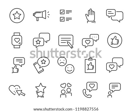 set of feedback line icons, such as, question, review, test, app #1198827556
