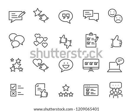 set of feedback line icons, such as, question, review, test, app #1209065401