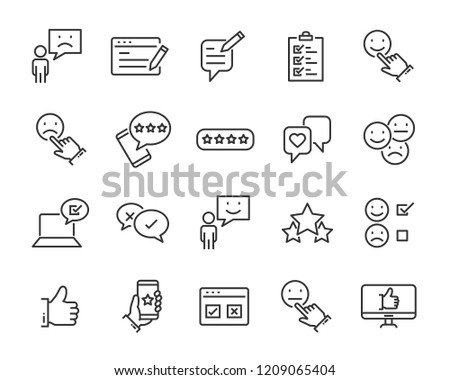 set of feedback line icons, such as, question, review, test, app #1209065404