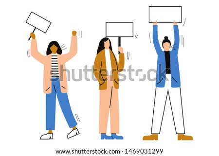 Set of female activists or protesters. Set of protesting people holding banners and placards. Women taking part in a meeting, parade, protest or rally. Flat vector illustration with space for text