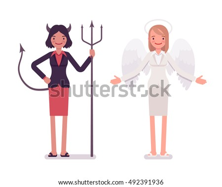 set of female angel and devil