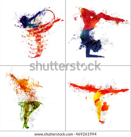 Set of female athletes in four different pose of Gymnastics, Creative illustration made by abstract watercolor splash for Sports concept.
