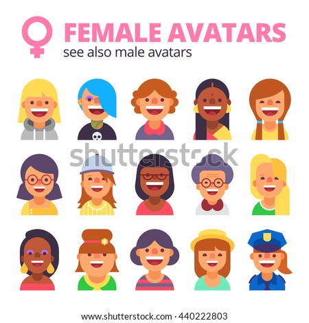 set of female avatars