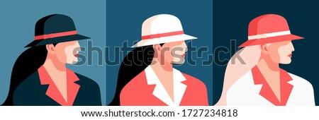 set of female avatars  side