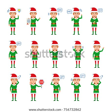 set of female christmas elf