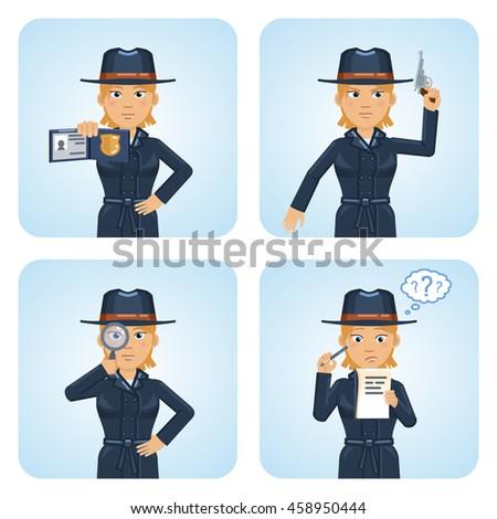 set of female detective