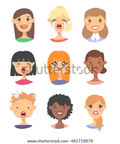 set of female emoji characters