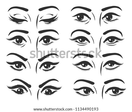 set of female eyes beautiful