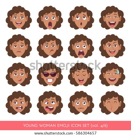 Set of female facial emotions. Black woman face with different expressions. Vector illustration in cartoon style.