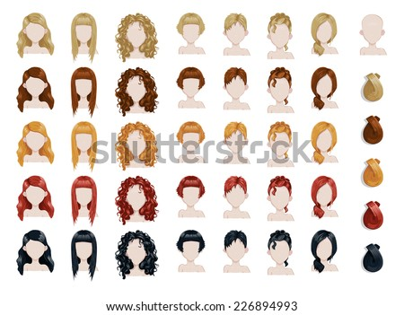set of female hair style