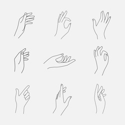 Set of female hands and gestures icons, logos, emblems, signs in a realistic poses. Elegant thin line, linear style. Isolated on background. Vector illustration.