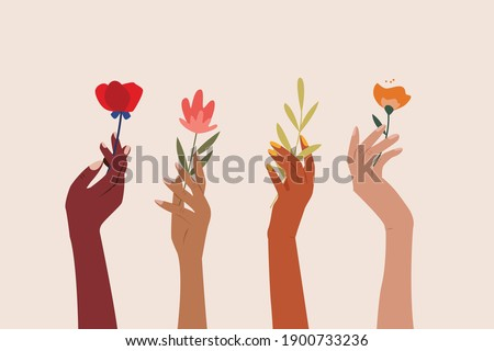 Set of female hands holding beautiful flowers. Different skin colored elegant woman hands isolated. Happy international women's day. Girl power. Feminism. Modern vector illustration in flat style