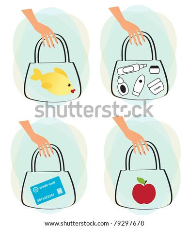 Set of female hands with shopping bags