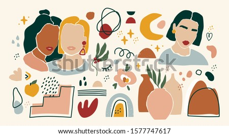 Set of female portraits, flower pots, moon flower, various doodle objects. Paper cut mosaic style. Hand drawn vector abstract illustration. Flat design. All elements are isolated