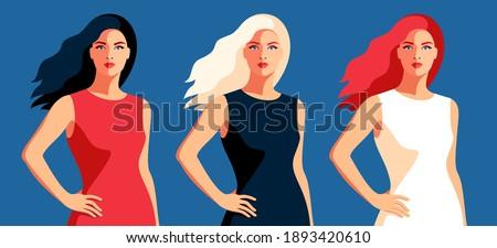 set of female portraits  full