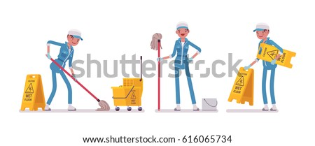 Shutterstock Set of female professional busy janitor mopping the floor, cleaning cart with bucket, caution wet floor sign, young and happy, wearing blue overall, protective gloves, isolated, white background