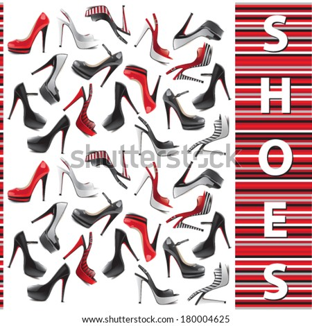 Set of female shoes - stock vector