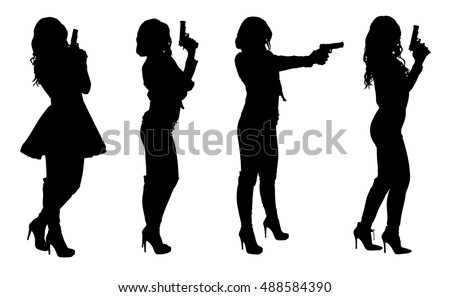 set of female spy in different