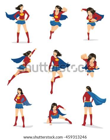 set of female superhero in 9