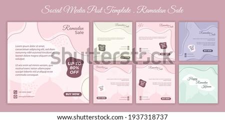 Set of feminine social media post template. Social media post template with feminine design for ramadan event. good template for online advertising design.