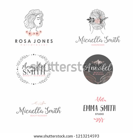 Set of femme fashion logo for beauty salon, hair salon, cosmetic. Hand drawn elements.