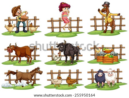 set of fences with people and
