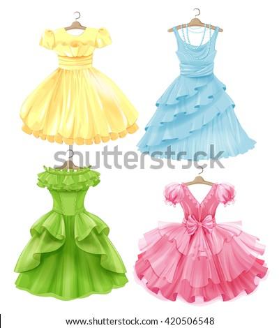 Set of festive dresses for girls. Princess style  Stock foto ©