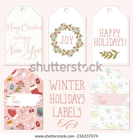 set of few winter holidays labels