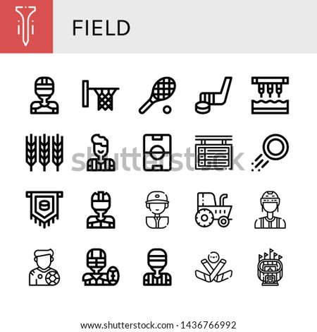 set of field icons such as tee
