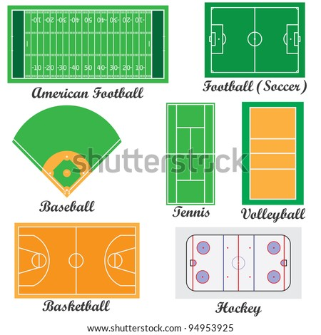 Set of fields for sport games on the white background.