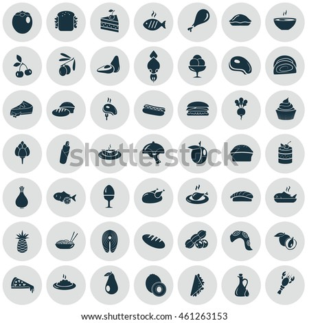 set of fifty food icons