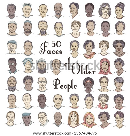 Set of fifty hand drawn faces of older people, diverse portraits of women and men 50+, senior citizens of different ethnicities