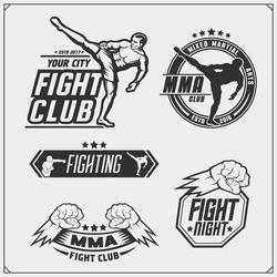 Set of fighting club emblems, labels, badges and design elements.