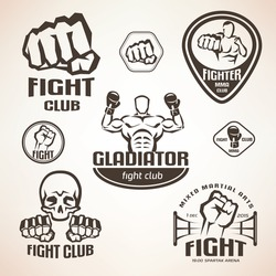 Set of fighting club emblems, MMA, boxing labels and bages