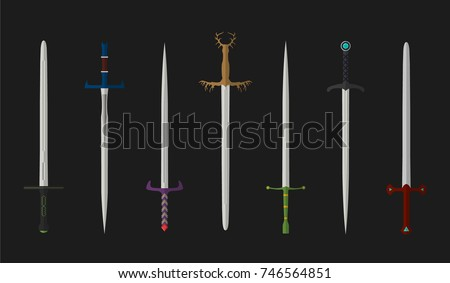 set of fighting knight swords