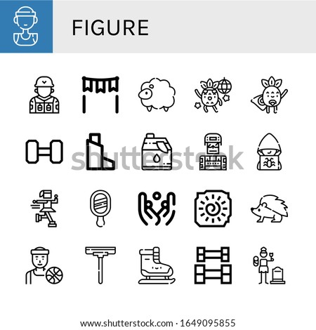 Set of figure icons. Such as Basketball player, Soldier, Gate, Sheep, Dancing, Superhero, Weightlifting, Inhaler, Cleaner, Hacker, Ice skate, Mirror, Juggling, Cave painting , figure icons