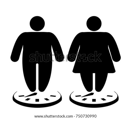Set of  figure obesity man and woman on the scales. Overweight icons. Vector illustration.