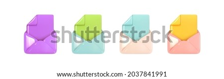 Set of File, envelopes, realistic 3d icon. Open Email with document. Post mail letter. Multicolored  logo design isolated. Vector illustration