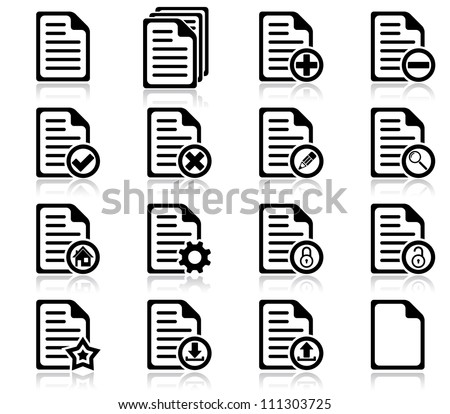 Set of file management and administration icons