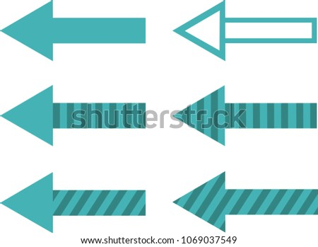 Set of Filled, Striped and Hollow Arrows in Blue and Turquoise Colour Vector Illustration