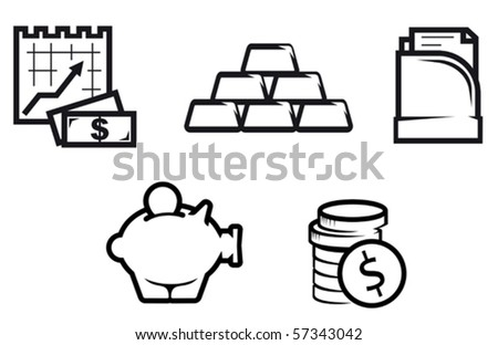 Set of finance and economic symbols. Jpeg version also available in gallery