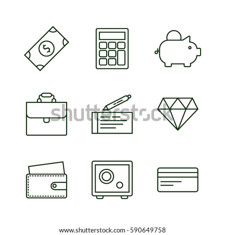 Set of finance and money icons with banknote, piggy bank, diamond, safe, calculator. Flat green bright icon set.